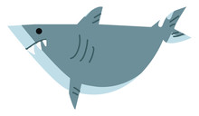 An Angry Shark Looking Out For Its Prey Underwater Vector Color Drawing Or Illustration