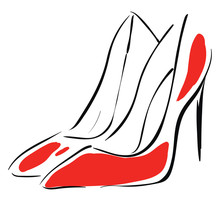 Pair Of Red High Heel Shoes Illustration Basic RGB Vector On White Background