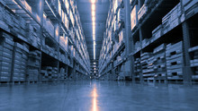 Huge Product Warehouse With Tall Shelves And Lots Of Boxes Stack Over Each Other And Bright Led Lights From Top Ceiling. Color Tone Adjusted