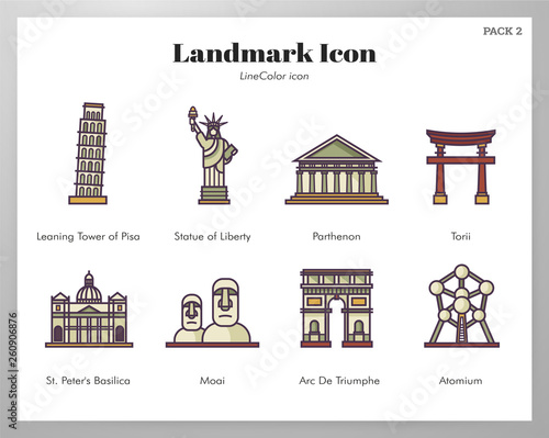 Photo Landmark icons LineColor pack