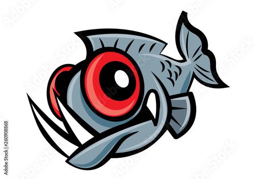 Valokuva  Cute piranha fish character mascot - vector