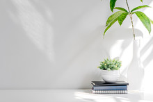 Mockup Stack Of Book And Houseplant On White Wooden Table, Copy Space For Product Display Or Montage.