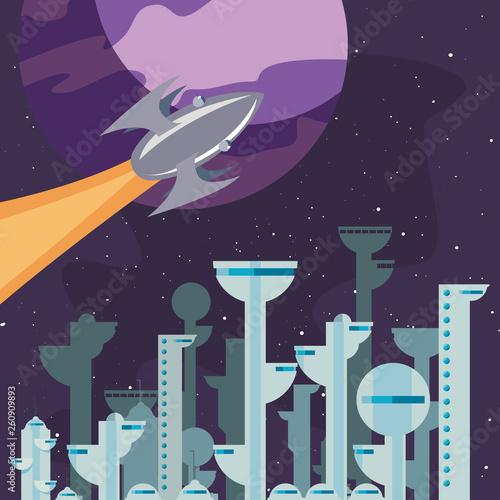 rocket colony futuristic space Fototapete