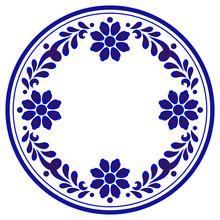 Blue And White Flower Round