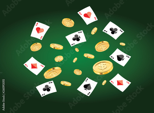 Illustration Poker Card And Dollar Coin Floating Of Casino