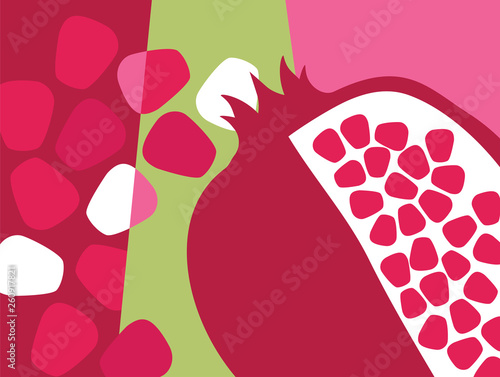 Abstract fruit design in flat cut out style. Pomegranate and seeds. Vector illustration. - 260917821