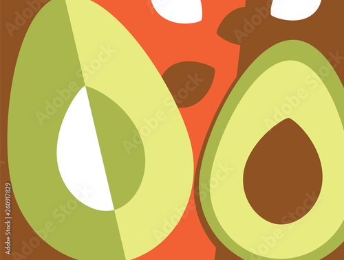 Abstract fruit design in flat cut out style. Avocados. Vector illustration. - 260917829