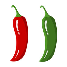 Red And Green Chilli Peppers Isolated On White Background. Fresh Food Spice For Market, Recipe. Cartoon Flat Style. Vector Illustration For Your Design, Web.