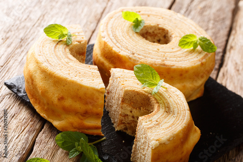 Valokuvatapetti German for tree cake, Baumkuchen is sometimes also known as pyramid cake, or spit cake close-up