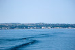 Boat trail in blue mediterranean sea, Greece