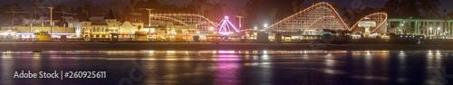 Santa Cruz Beach Boardwalk Amusement Park at Night Wallpaper Mural