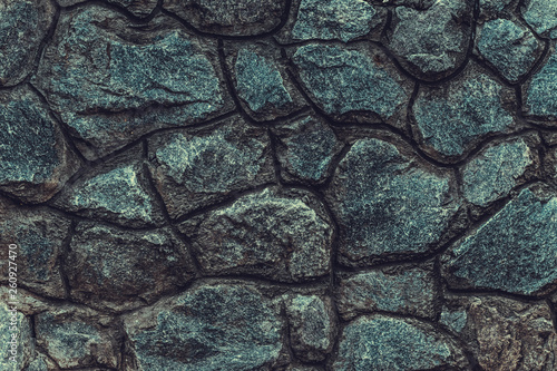 Obraz Modern dark stone wall background, great design for any purposes. Nature background. Rock texture. Grunge background. Gray stone surface. Space texture. - fototapety do salonu