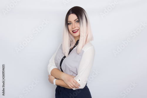 Photographie  Blonde secretary woman over white background