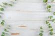 Leinwandbild Motiv Top view floral eucalyptus flat lay frame on white rustic wood