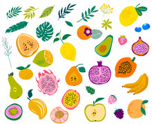 Set Of Tropical Fruits And Lea...