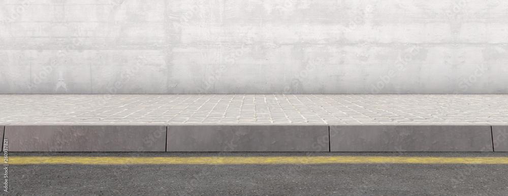 Fototapeta Pavement Street And Wall Backdrop