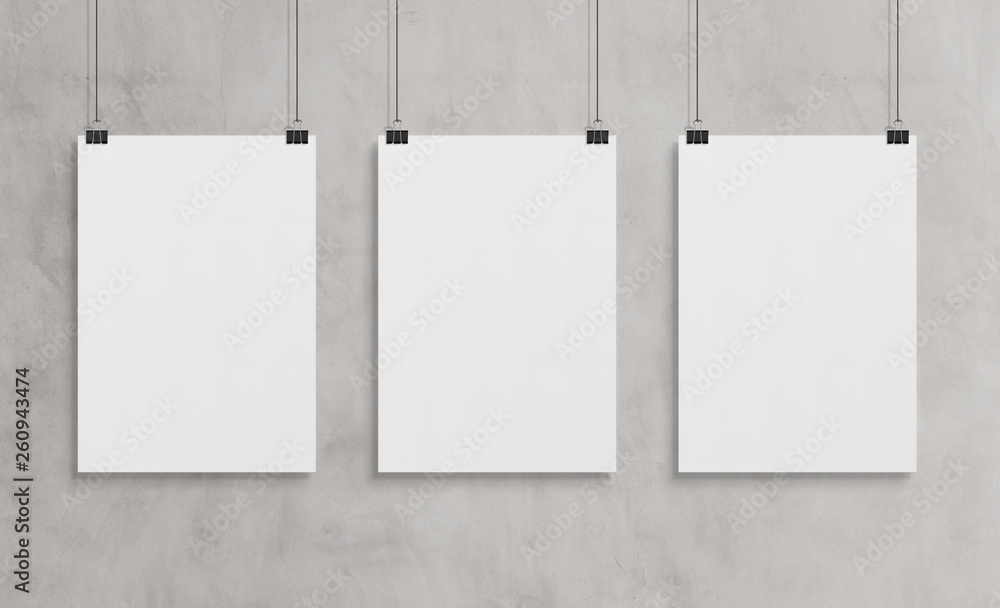Fototapety, obrazy: Three white poster hanging mockup 3d rendering