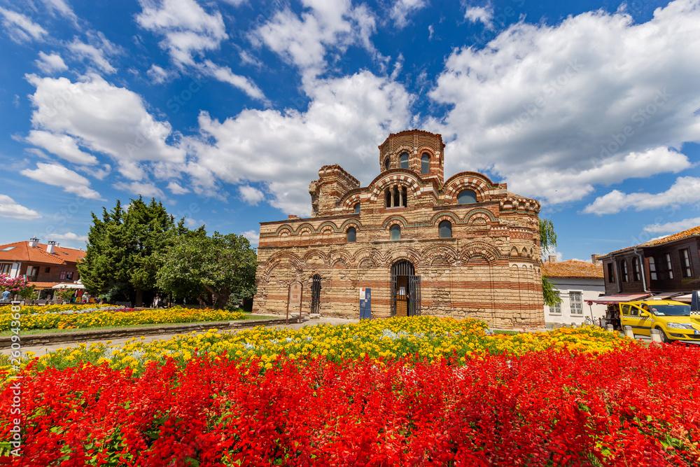 Fototapety, obrazy: NESSEBAR, BULGARIA - Church of Christ Pantocrator in the old town of Nessebar, Burgas Region, Bulgaria