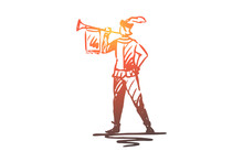 Trumpeter, Medieval, Trumpet, Message, Ancient Concept. Hand Drawn Isolated Vector.