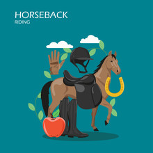 Horseback Riding Vector Flat S...