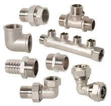 Set Of Pipe Fittings Connection For Industry. Assorted Plumbing Fixtures And Piping Parts