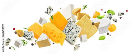 Cheese assortment isolated on white background Wallpaper Mural