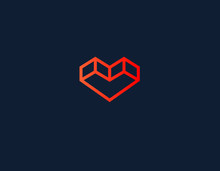 Creative Logo Linear Icon 3d Heart For Business Company