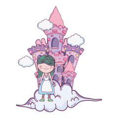 cute little fairy with castle in the clouds
