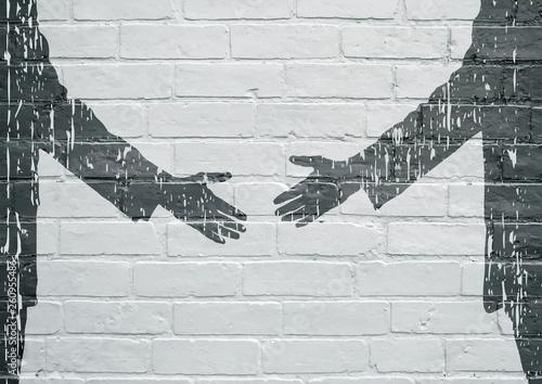 Photo Street art. Poignée de mains