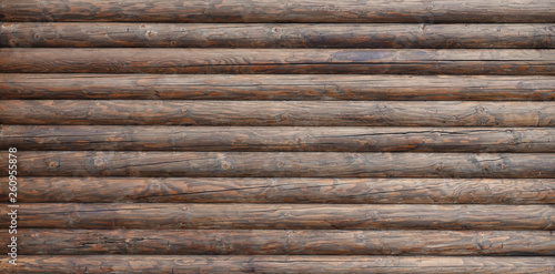 Wooden wall assembled of beams or logs Tableau sur Toile