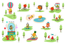 Funny Fruits In The Park Spend Different Outdoor Activities And Play Sports. Cute Food Vector Cartoon Characters Set Isolated On White Background.