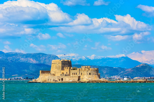 Canvas-taulu Bourtzi fortress in the sea in Nafplio or Nafplion town the first capital of Gre