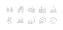 Simple Gray 10 Vector Icons Set Such As Usa Shield, Rugby Helmet, Fast Food, Washington, American Football, Capitol, Cityscape. Editable Vector Icon Pack