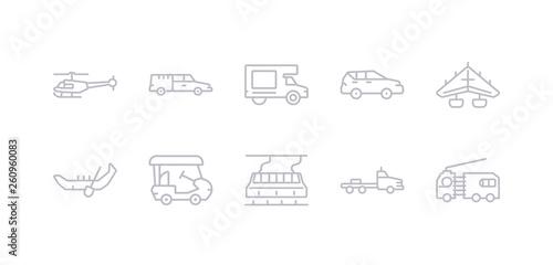Fotografie, Obraz  simple gray 10 vector icons set such as flatbed lorry, funicular railway, golf cart, gondola, hang glider, hatchback, haul