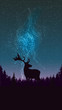 Starry sky, Northern lights, pine forest and silhouette of deer