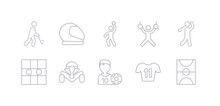 Simple Gray 10 Vector Icons Set Such As Football Field, Football Jersey, Football Player, Formula Racing, Go Game, Golf, Gymnastics. Editable Vector Icon Pack