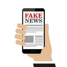 Person Reads Fake News On The Smartphone Isolated On White Background Vector Illustration EPS10