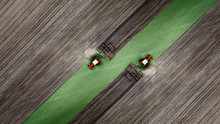 Aerial Top View Of A Tractor, ...