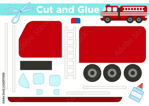 Fotografía Cut and glue, educational paper game for preschool kids