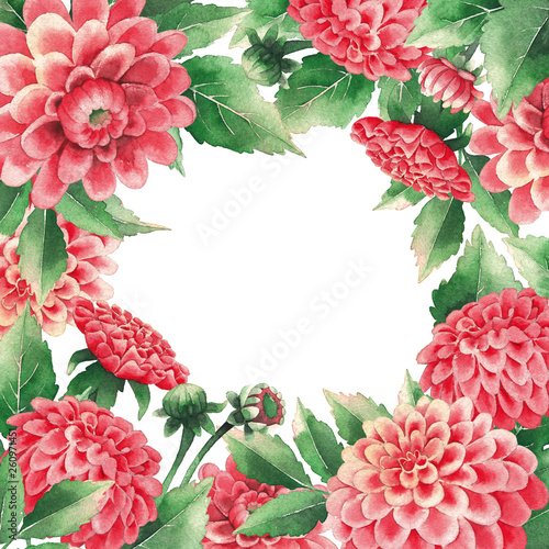 Watercolor design of dahlias flowers and leaves Fototapet