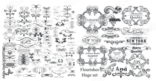 Foto  Big collection of vector flourishes and calligraphic elements in vintage style
