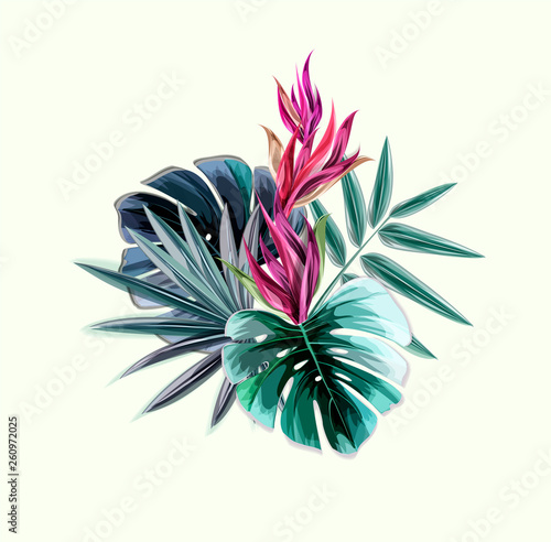 Poster Grafische Prints Abstract tropical plants pattern