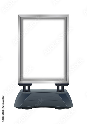 Photo Vector illustration of empty blank pavement sign frame stand