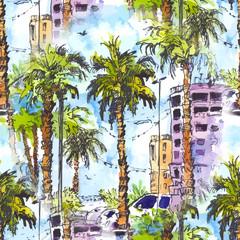 wektor Jednolite wzór. Śródmieście z ulicą i budynkami Miami City na Florydzie, USA. Powitalny akwarela z ręcznie rysowane szkic ilustracji. retro kolorowe sylwetki akwarela drzew palmowych.