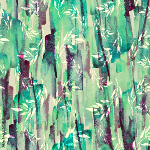 Deurstickers Paradijsvogel Vintage seamless watercolor pattern of plants, wild grasses, algae, twigs, branch, basil, sprout, plant. watercolor stylish pattern. Abstract paint splash. Trendy background. Abstract grunge texture
