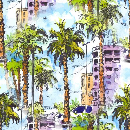 wektor-szwu-srodmiescie-z-ulica-i-budynkami-miami-miasto-w-floryda-usa-akwarela-powitalny-z-recznie-rysowane-szkic-ilustracji-retro