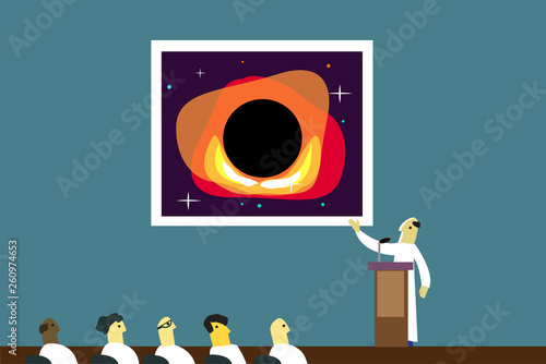 A scientist in a pedestal presents a picture of a black hole in a conference room Fototapet