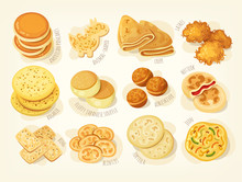 Various Kinds And Shapes Of Pancakes From Different Countries Of The World. Isolated Vector Images