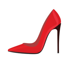 Red Elegant Shoe. Vector Illustration