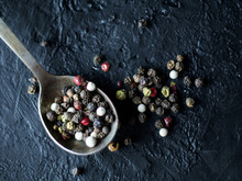 Spoon With Allspice On A Dark ...